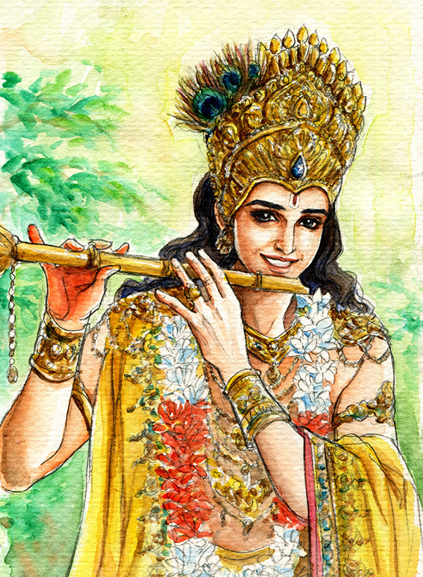 sketch of lord krishna with flute